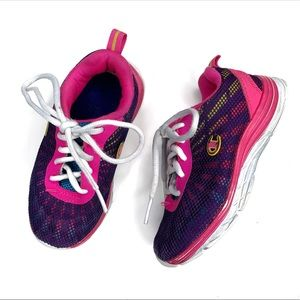 Kids Girls Pink Champion Laced Sneakers Size 10.5